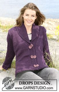 """DROPS jacket in """"Silke-Alpaca"""" with shawl collar and """"bow"""" buttons. Size S til XXXL. ~ DROPS Design"""
