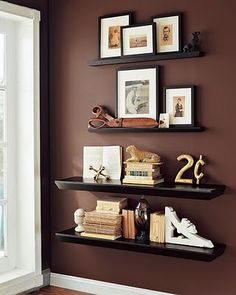 I think I'm going to do this, but with much wider shelves on the big wall in my living room.