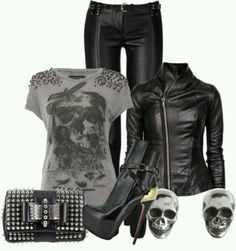 Skulls an leather studs and heels