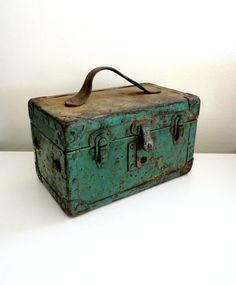 Industrial Metal and Wood Storage Box Metal Toolbox in by KimBuilt, $49.00