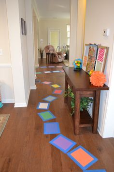 Candyland Birthday Party Ideas: Construction Paper Game Board Path through house