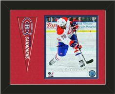 One framed 8 x 10 inch Montreal Canadiens photo of P.K. subban with a Montreal Canadiens mini pennant, double matted in team colors to 14 x 11 inches.  (Pennant design subject to change) $59.99  @ ArtandMore.com