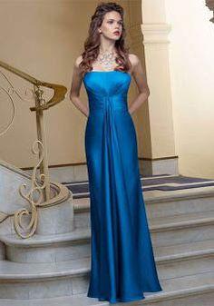 A line Elastic Silk Like Satin Strapless Sleeveless Floor Length Bridesmaids Gown - Angeldress.co.uk