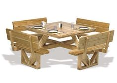 Square Picnic Table Woodworking Plan Our Square Picnic Table gives you more available seating than your traditional picnic table so you can invite the whole family over. Our Square Picnic Table will c #woodworkingbench