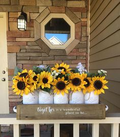 New Wedding Sunflower Decorations Mason Jars Ideas Sunflower Birthday Parties, Sunflower Party, Sunflower Baby Showers, Sunflower Centerpieces, Jar Centerpieces, Sunflower Decorations, Sunflower Home Decor, Mason Jars, Rustic Lighting