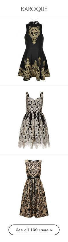 """""""BAROQUE"""" by papee ❤ liked on Polyvore featuring dresses, gold skater skirt, lace bodycon dress, gold lace cocktail dress, gold bodycon dress, embroidered dress, vestidos, short dress, brown prom dresses and prom dresses"""