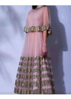 Bollywood Replica- Party Wear Fancy Pink Net Gown - P01