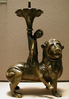 Copper candlestick Samson riding a lion, Lower Saxony 1200-1240