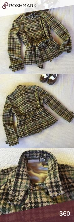 DKNY Camel Plaid Tie Jacket This is a fun DKNY Jeans plaid knit wool jacket. The base color is camel brown or tan  and the plaid pattern is in muted green and black. It has two buttonable front pockets. (433) DKNY Jackets & Coats