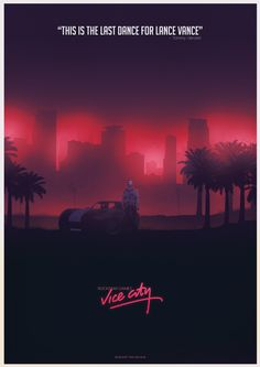 Poster for the game GTA: Vice city. Part of the GTA poster collection. Fan Poster, Retro Poster, Video Game Posters, Video Game Art, Rockstar Games Gta, Neon Artwork, Neon Noir, City Wallpaper, San Andreas