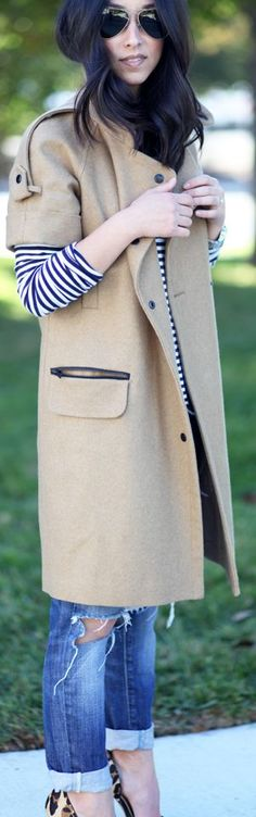 Camel Short Sleeve Long Line Coat