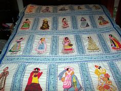 VINTAGE ANTIQUE HANDMADE QUILT TOPPER WOMEN OF THE WORLD