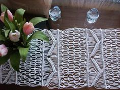 "Table runner, hand made macrame, acrylic white materials.  10"" x 6 ft. http://www.ebay.com/itm/302107360044?ssPageName=STRK:MESELX:IT&_trksid=p3984.m1555.l2649"