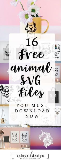 FREE 16 animal SVG cut files for you all to enjoy! These adorable animals- Unicorn, llama, hippo, ch Image Svg, Shilouette Cameo, Silhouette Curio, Silhouette Cameo Gifts, Silhouette Cameo Freebies, Silhouette Portrait, Cricut Craft Room, Cricut Creations, Vinyl Projects