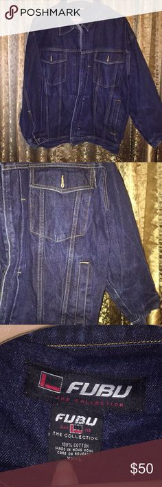 c59e316be8534 Description  FUBU The Collection Denim Jean jacket Color Dark Blue In great  condition No stains No holes.