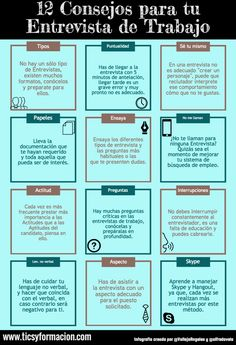 12 Consejos para tu Entrevista de Trabajo #infografia #infographic #empleo
