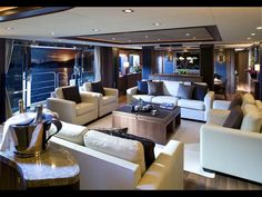 Sunseeker Yachts, the British luxury yacht builder has now finished building their latest 40 metre motor yacht 'Chiqui'. Yacht CHIQUI is Sunseeker's second hull Luxury Yacht Interior, Boat Interior, Luxury Decor, Luxury Yachts, Luxury Boats, Luxury Penthouse, Luxury Food, Best Motorhomes, Sunseeker Yachts