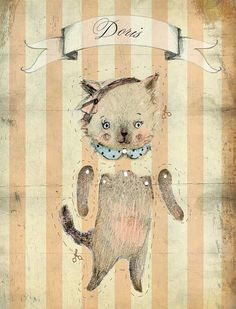 Cat Doris, Paper Doll print