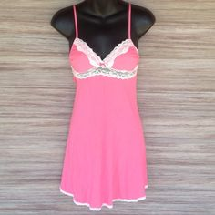 Victoria's Secret Slip Pink with white lace. Excellent condition. Adjustable straps. Victoria's Secret Intimates & Sleepwear Chemises & Slips