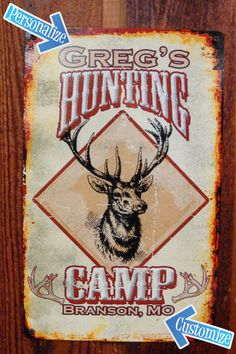 Custom, Personalized Tin Metal Sign for Hunting Cabin, Hunting Lodge. Vintage looking Tin Sign. on Etsy, $22.99