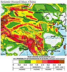 2. Mappa di pericolosità sismica dell'asia centro orientale con indicazione dell'accelerazione di progetto
