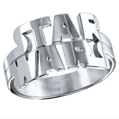 Star Wars logo stainless steel cutout ring, available in sizes 8 to 12