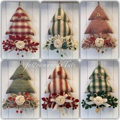 Alberelli by fattoamanodaTati Christmas Crafts Sewing, Fabric Christmas Ornaments, Felt Christmas Decorations, Christmas Art, Christmas Projects, Holiday Crafts, Primitive Christmas, Christmas Holidays, Quilted Ornaments