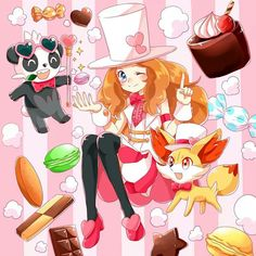 Serena with her Fennekin and her Pancham ^_^ ^.^ ♡ I give good credit to whoever made this