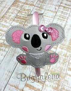 Koala Bear BuggaBand Headband Slider Embroidery Design by Buggalena