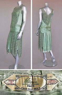 Jeanne Paquin-labelled green lace and satin flapper dress, Summer 1927, large woven satin label, dated and numbered 40563, with diagonal satin bands converging at the front with two floating panels, intergal satin waist slip. Kerry Taylor Auctions/Artfact