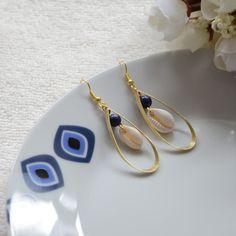 """Boucle d oreille goutte """"HANAKO"""" en pierres bleus d'Inde"""