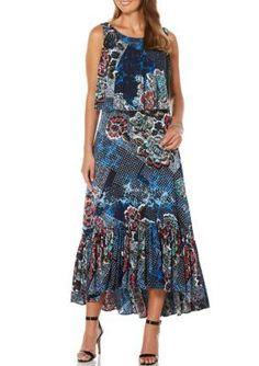 Rafaella Navy Petite Bali Floral Sleeveless Dress