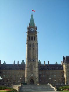 Peace Tower, Canada - The Peace Tower (officially the Tower of Victory and Peace; in French: tour de la Victoire et de la Paix) is a focal bell and clock tower, sitting on the central axis of the Centre Block of the Canadian parliament buildings in Ottawa, Ontario. The present incarnation replaced the 55-metre (180 ft) Victoria Tower after the latter burned down in 1916,..