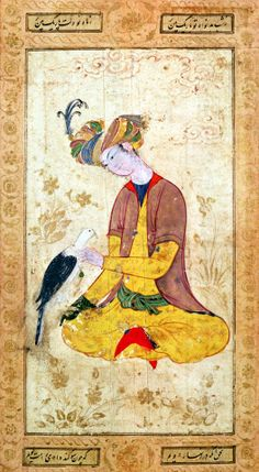 A Hunter Stroking his Falcon (gouache on paper), Persian School, (17th century) / Louvre, Paris, France / Giraudon / The Bridgeman Art Library