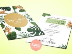 Trópusi növényes esküvői meghívó   Tropical inspired wedding invitation card Floral Wedding Invitations, Wedding Invitation Cards, Tropical, Inspired, Wedding Invitations