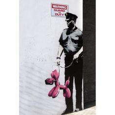 iART Banksy 'Police Guard Balloon Dog' Print Wall Art