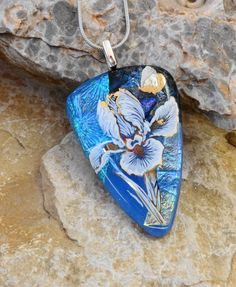 Fused Glass Flower Pendant Dichroic Fused Glass by GlassCat