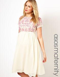 Image 1 ofASOS Maternity Midi Dress With Embellishment