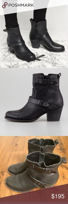 """rag & bone Harper moto boot •Light wear {Easy re-sole and buff needed} •Size 40 {Fits 9.5/ 10} •Metal collar button closures at straps •Leather lining and padded footbed •Pull on tab •Leather sole + 2 3/8"""" heel •5 1/2"""" shaft •Ships next day rag & bone Shoes Combat & Moto Boots"""