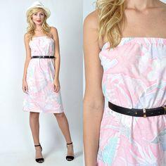 Vintage 80s Pink Retro Mini Dress Strapless by thekissingtree