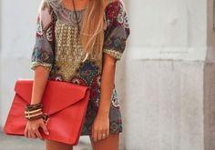 dress & oversized clutch & jewelry