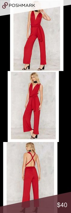 Nasty Gal All Time Low Halter Jumpsuit NWT. Royal red jumpsuit with extra long halter ties for a multi wear design. Wide leg silhouette. Nasty Gal Pants Jumpsuits & Rompers