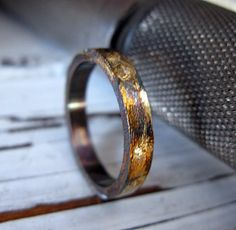 Mens Artisan Wedding Band Oxidized Sterling Silver by RusticFORMen