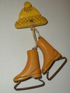 RARE 1940's Vintage WINTER HAT & ICE SKATES - BAKELITE PIN + NEVER SEEN BEFORE!