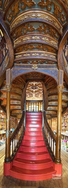 S library stairway - coimbra university, coimbra por Coimbra Portugal, Architecture Design, Beautiful Library, Cathedral Church, New York, Portugal Travel, Travel Themes, Stairways, Just In Case