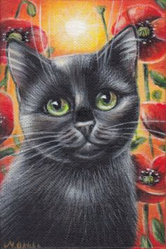 Black Cat Poppies Painting #Realism