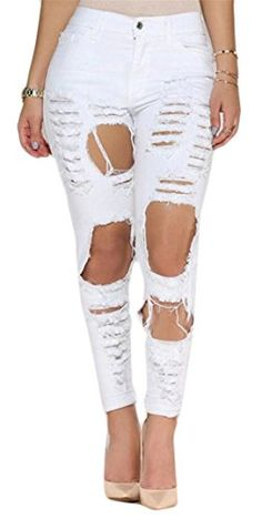 5a5939e11c6 HTOOHTOOH Women Spring High Waist Destroyed Ripped Distressed Hollow Out Denim  Jeans