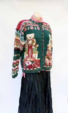 Ugly Christmas sweater Vintage Holiday Green by WindingRoadVintage, $38.00