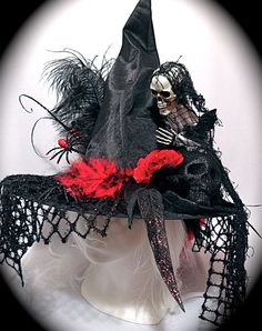 Red Skeleton Witch hat Halloween Costumes Witches Hats by Marcellefinery on Etsy