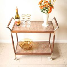 Vintage Tiled Bar Cart